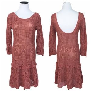 Moda International rust crochet dress medium